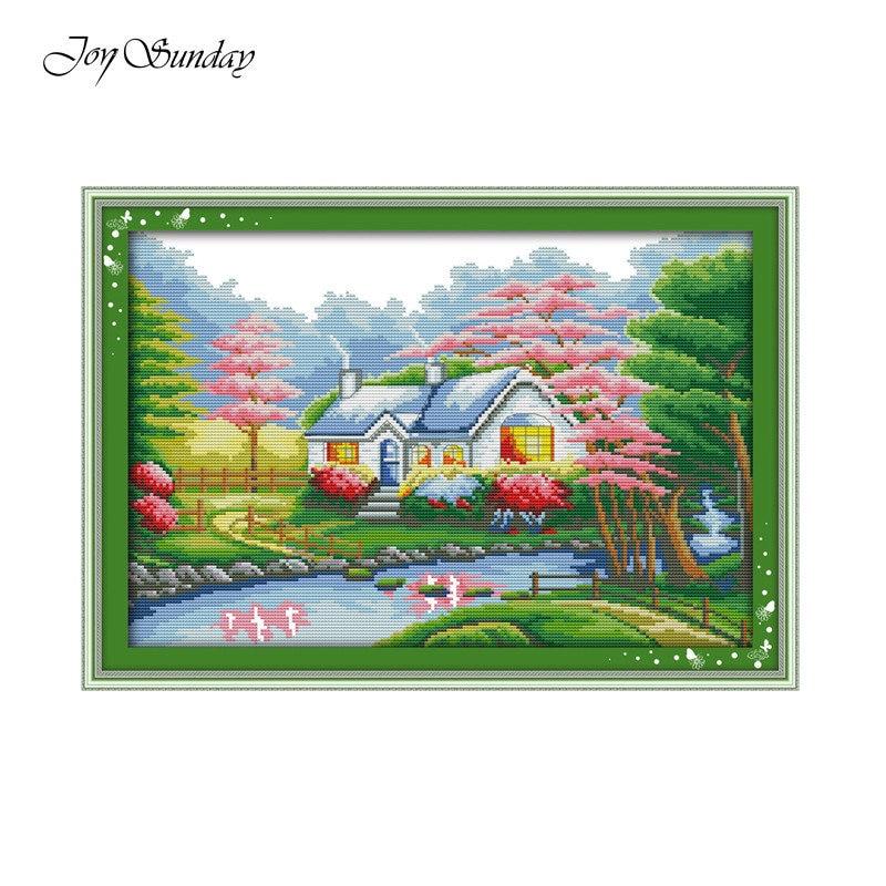 Joy Sunday Beautiful homeland Needlework Sets DIY Landscape Painting Cross stitch pictures embroidery cross stitch landscape in Package from Home Garden