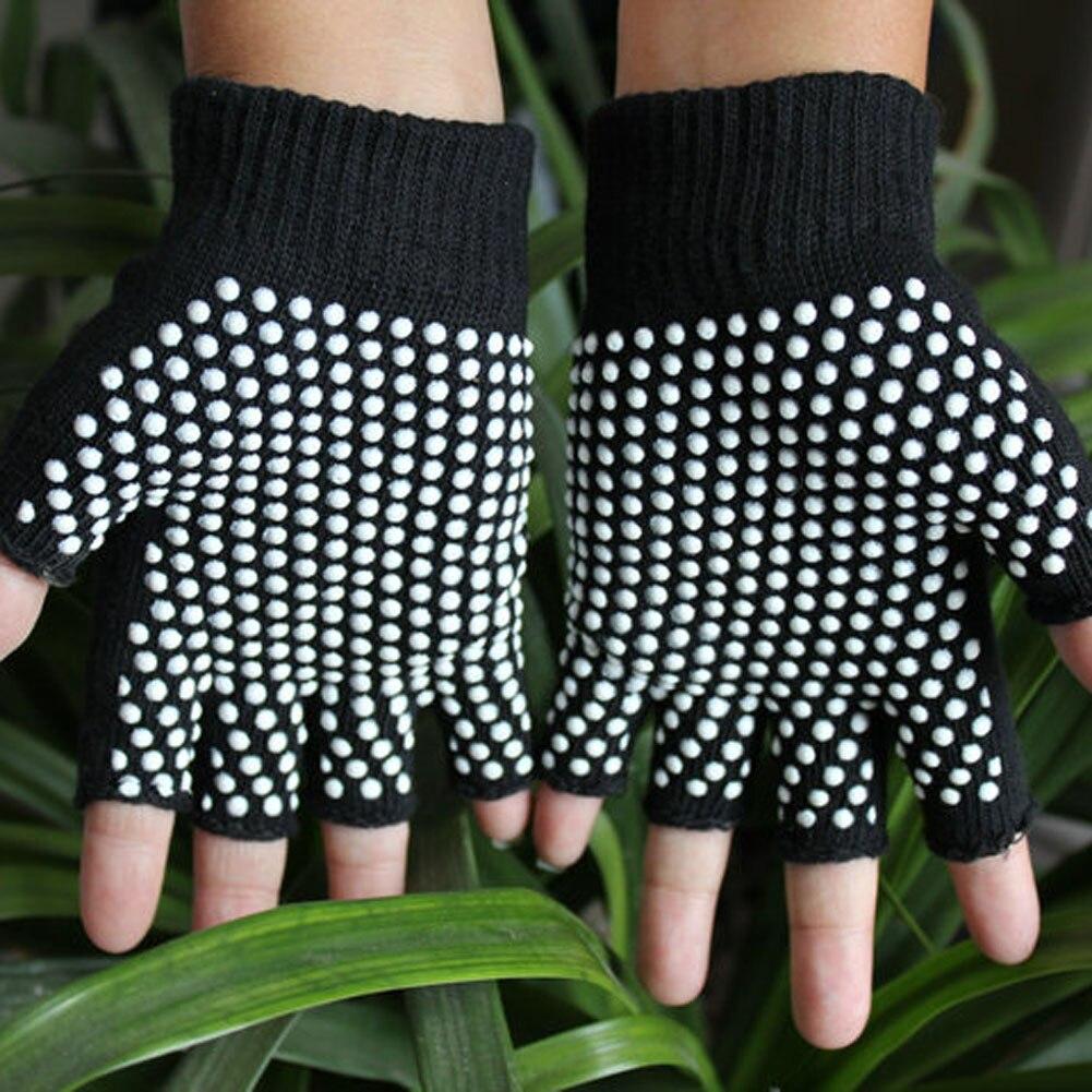 New 2017 Man Women Semi Finger Red Black Gloves Anti Slip Wearable  Yoga Free Shipping
