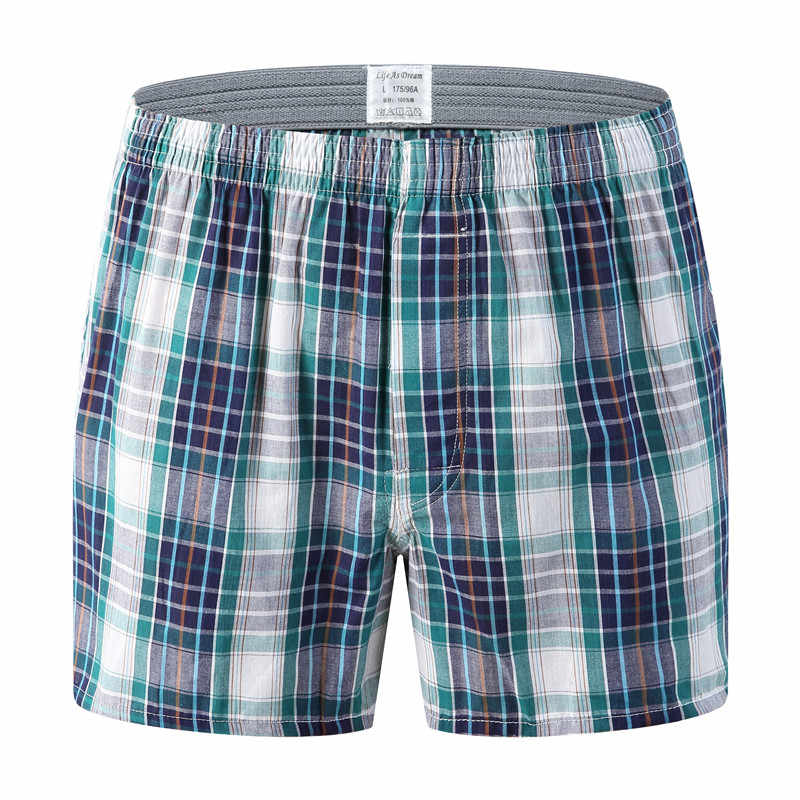 New Mens Underwear Boxers Shorts Casual Cotton Sleep Underpants High Quality Brands Plaid Loose Comfortable Homewear Panties