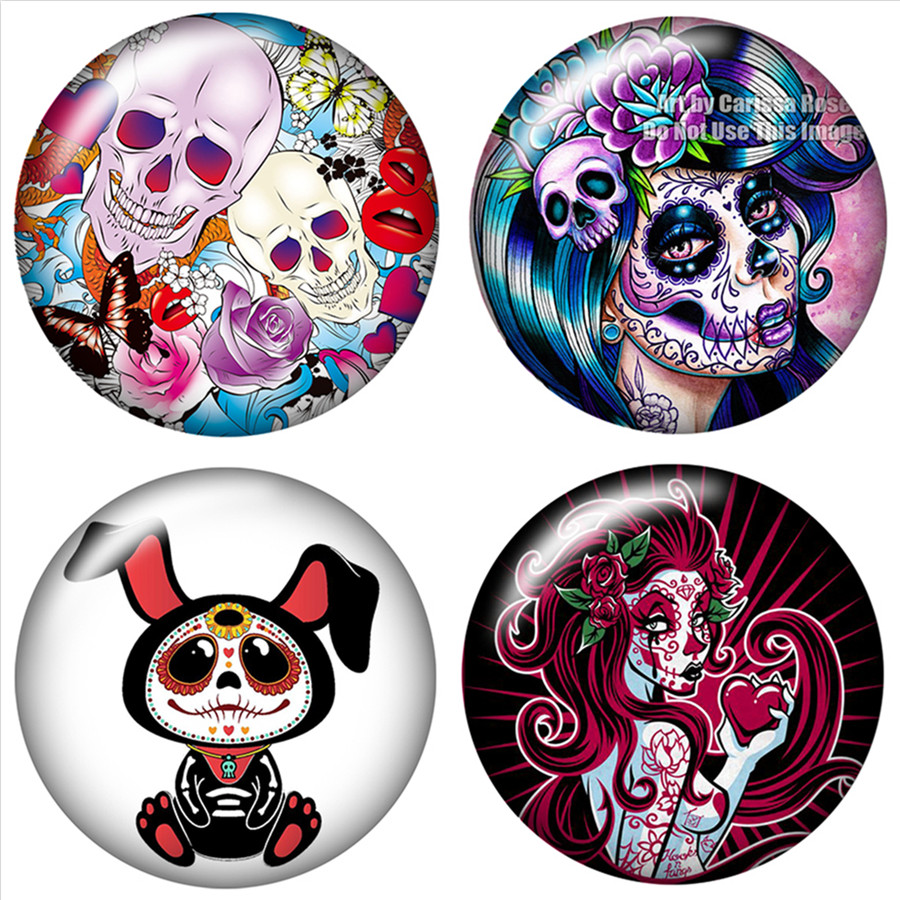 Fashion Skull girl Ghosts 10pcs 12mm/18mm/20mm/25mm Round photo glass cabochon demo flat back Making findings ZB0467Fashion Skull girl Ghosts 10pcs 12mm/18mm/20mm/25mm Round photo glass cabochon demo flat back Making findings ZB0467