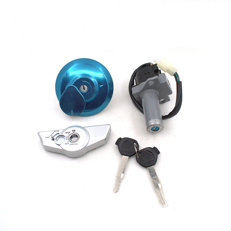 2088 Motorcycle Ignition Switch Lock+Fuel Gas Tank Cap Cover Lock Set For Honda WY125-B CBF125 WY CBF 125 Spare Parts 1pcs refires vintage motorcycle fuel tank lock fuel tank cover motorcycle fuel tank cap for cg125