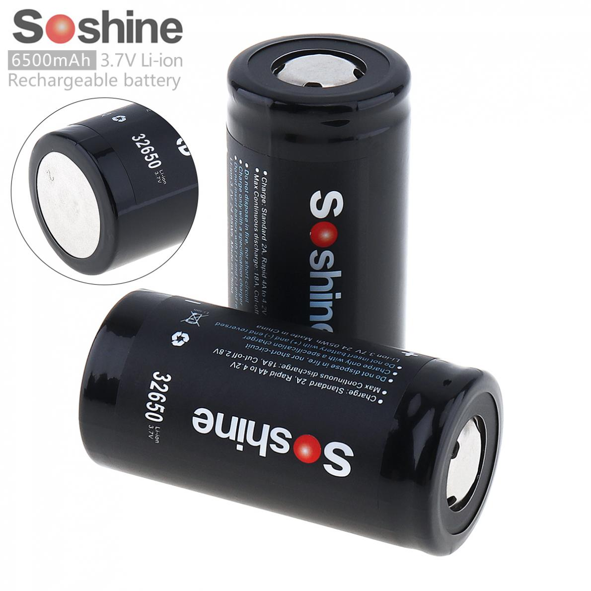 2pcs Soshine High Capacity 6500mAh 3.7V 32650 Li-ion Rechargeable Battery with 18A Discharge Current for LED Flashlight Headlamp2pcs Soshine High Capacity 6500mAh 3.7V 32650 Li-ion Rechargeable Battery with 18A Discharge Current for LED Flashlight Headlamp
