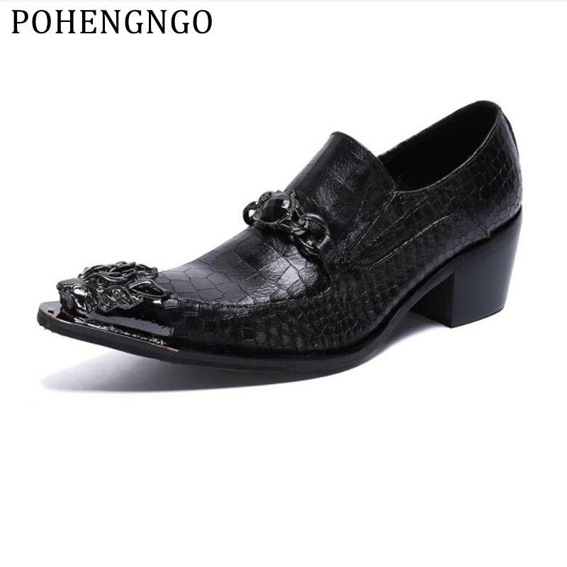 Zapatos de novio de boda formales de hombre con punta de Metal de cocodrilo de lujo 2019, zapatos de tacón alto de cuero genuino para hombre de cristal negro