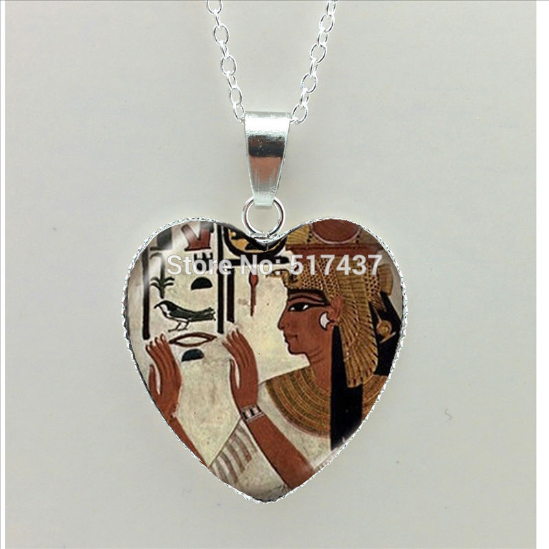 2017 New Egyptian Goddess Heart Necklace Egypt Heart Pendant Vintage Jewelry Silver Heart Shaped Necklaces HZ3