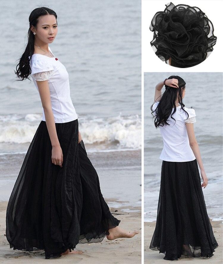 Sherhure 19 High Waist Women Chiffon Long Skirts Floor Length Ruffles White Summer Boho Maxi Skirt Saia Longa Faldas 28