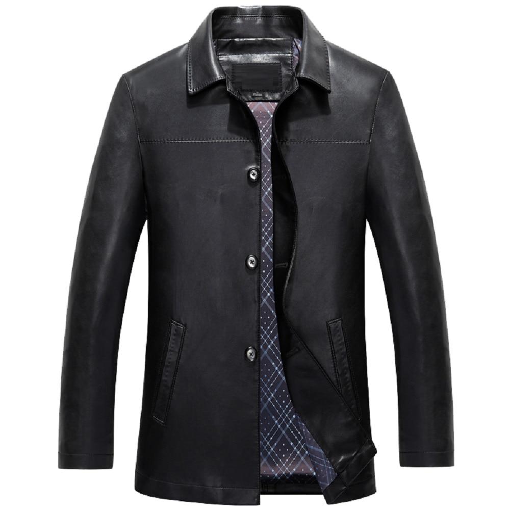 BOSIBIO 2018 Fashion Slim Fit Mens Jackets Faux Leather Brown Autumn Thin Coats Turn down Collar