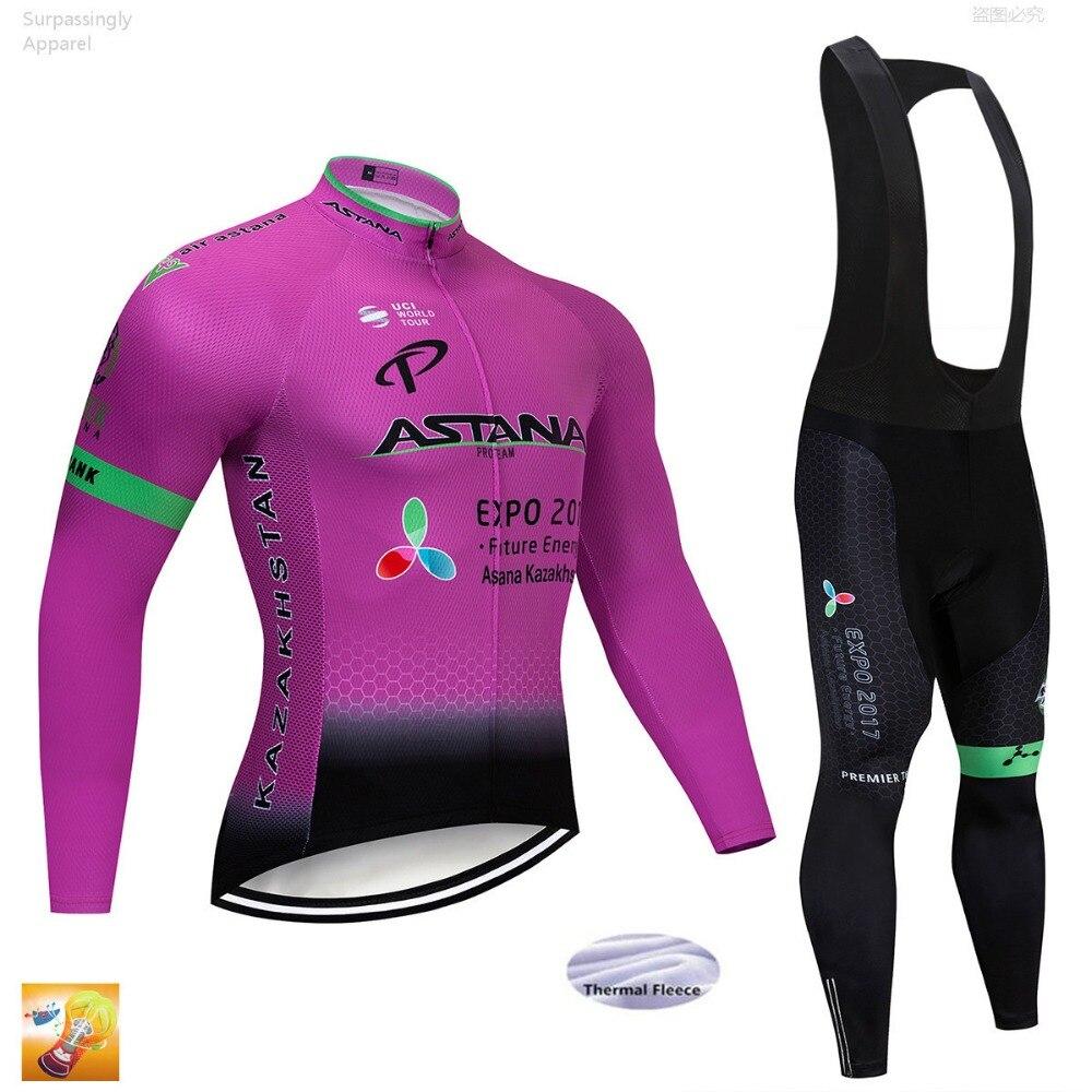 2019 à manches longues ASTANA cyclisme Jersey 16D Gel Pad vélo pantalon ensemble Ropa Ciclismo hommes hiver vélo Maillot Culotte vêtements
