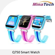 Original GPS Reloj Inteligente Q750 Q100 Bebé Reloj Inteligente Con Pantalla Táctil de 1.54 pulgadas SOS Tracker Dispositivo de Localización de Llamadas para el Cabrito seguro