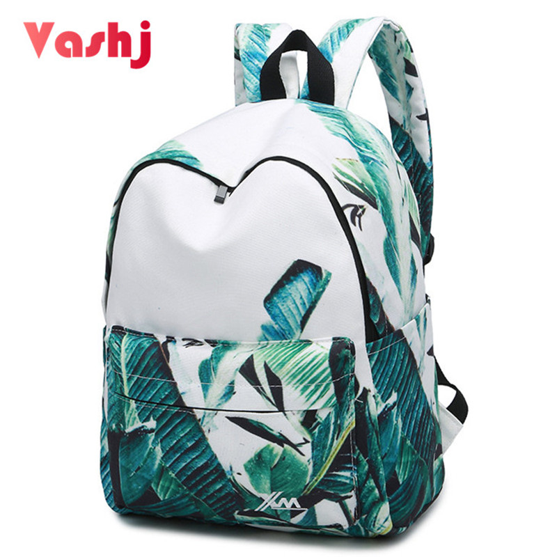 Tropical Leaves Women Backpack Canvas Holiday Large Capacity Female Travel Backpacks Student School Bag Teenager Girl Book Bags