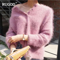 RUGOD 2018 New Button Cashmere Sweater Women Soft Warm Long Sleeve Pullover Jumper Female Knitted Sweaters Befree Pull Femme