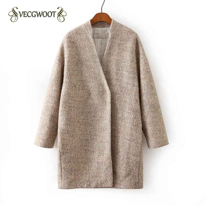 2019 Autumn/Winter Women's Outerwear Apricot Long Sleeve Loose Woolen Grey Coat  coat female women's cashmere coat WLX575
