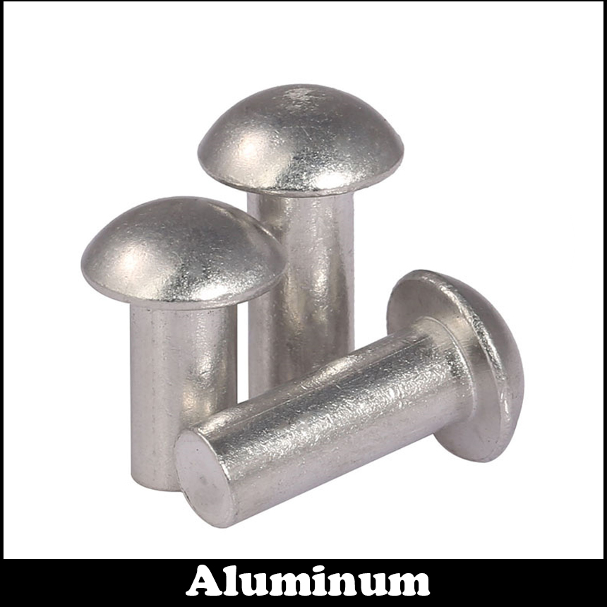 100pcs M4 x 6mm Aluminum Half Round Head Solid Rivet Fastener Silver Tone