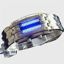 Стальной полосы модный водонепроницаемый светодиодные популярные мужской металл часы электронные часы тенденция