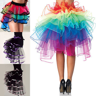 Women Rainbow Dance Tulle Tutu Skirt for Clubwear Evening Party Carnival Cosplay