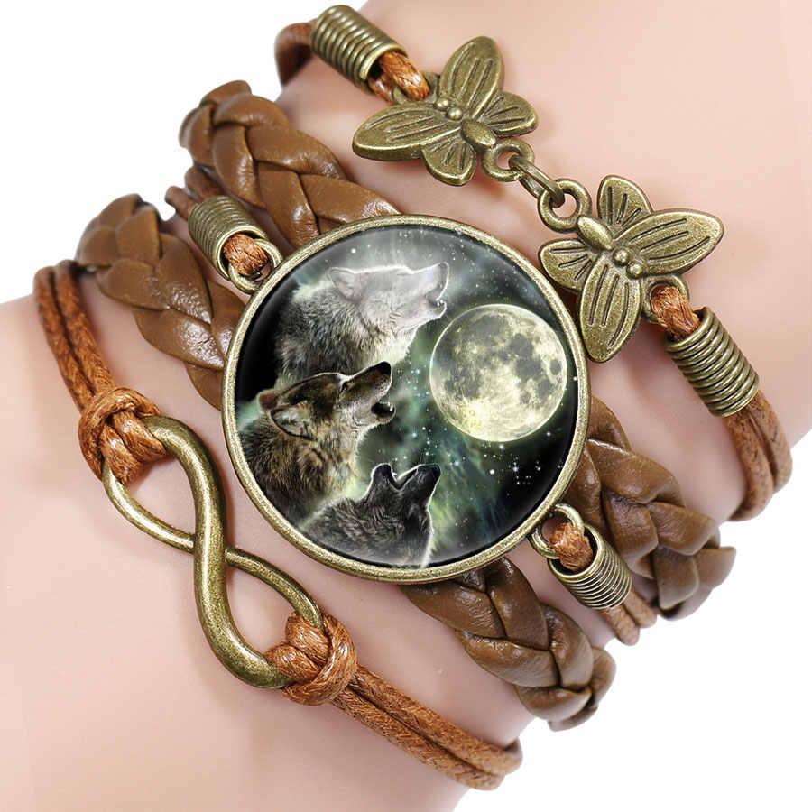 شعبية اللون الأسود القوطية الذئب القمر الزجاج قبة سحر سوار الإسورة مجوهرات الصبي الرجال اليدوية سيريوس اكسسوارات
