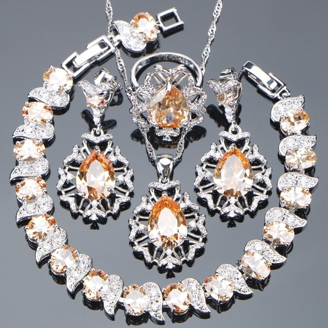 925 Sterling Silver Bridal Champagne Cubic Zirconia Jewelry Sets