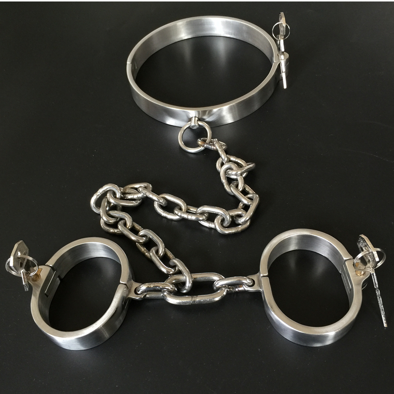 Adult Game 304 Stainless Steel Collar Men Woman Handcuff Bdsm Bondage Gay Erotic Slave Restraints With Lock Sex Toys For CouplesAdult Game 304 Stainless Steel Collar Men Woman Handcuff Bdsm Bondage Gay Erotic Slave Restraints With Lock Sex Toys For Couples