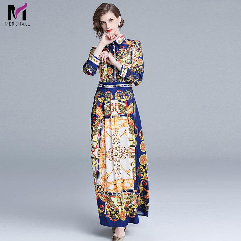 Merchall femmes dames Designer imprimé Floral chemise cou piste manches longues Maxi Slim Cocktail Swing fête a-ligne robe patineuse