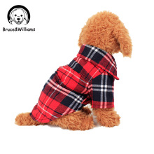 Bruce Williams Plaids Shirt Lapel Costume Dog Clothes The Spring Festival T shirt Autumn Spring Clothing