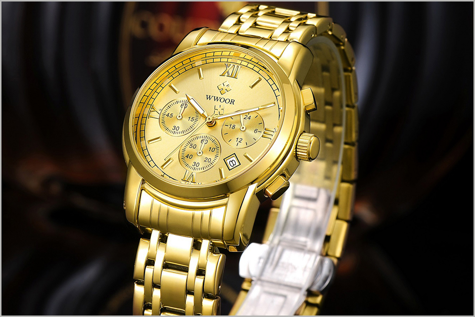 New Gold Quartz Wristwatch Men Watches Top Brand Luxury Stainless Steel Male Wrist Watch Golden Clock Relogio Masculino (5)