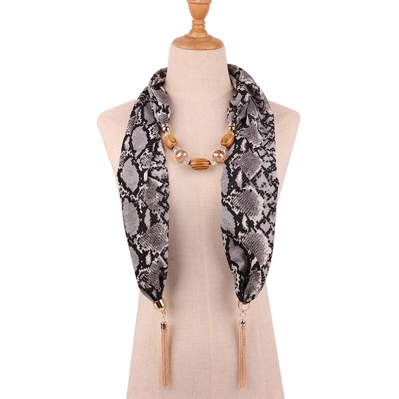 Image 5 - Ahmed 2019 New Fashion Snake/Leopard Printing Pendant Necklace  Scarf for Women Muslim Head Tassel Scarf Female Cloth  AccessoriesPendant Necklaces