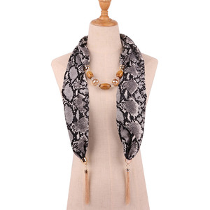 Image 5 - Ahmed 2019 New Fashion Snake/Leopard Printing Pendant Necklace Scarf for Women Muslim Head Tassel Scarf Female Cloth Accessories