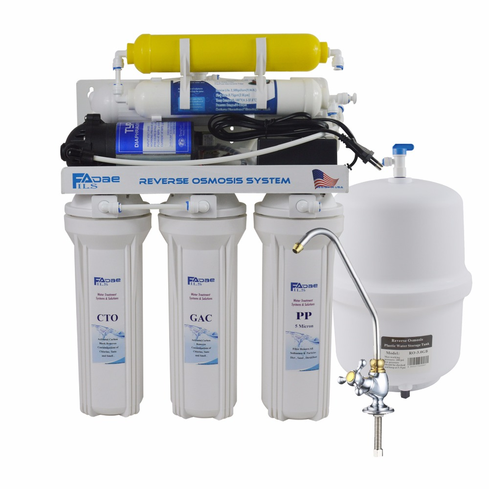 6 Stage Deionization + Reverse Osmosis Drinking Water Filtration System 50 GPD RO Membrane Ion Exchange Resin Filter Residential 300 gpd water filter ro booster pump for reverse osmosis drinking water