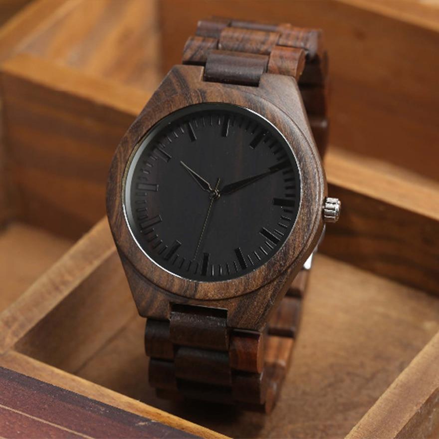 Walnut Wood Watch Men Natural Wooden Watches Male Casual Wristwatch Brown Clock 6