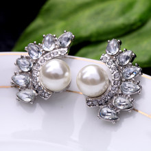 Bulk Price Clear Crystal Waterdrop Simulated Pearl Stud Earrings 2017 Elegant Bridal Earrings Indian Jewelry Wholesale(China)