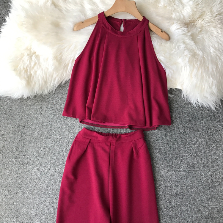HTB1uzkrVxTpK1RjSZR0q6zEwXXaf - two piece set women fashion sexy short top and long pants casual sleeveless Elastic high waist female summer festival clothing