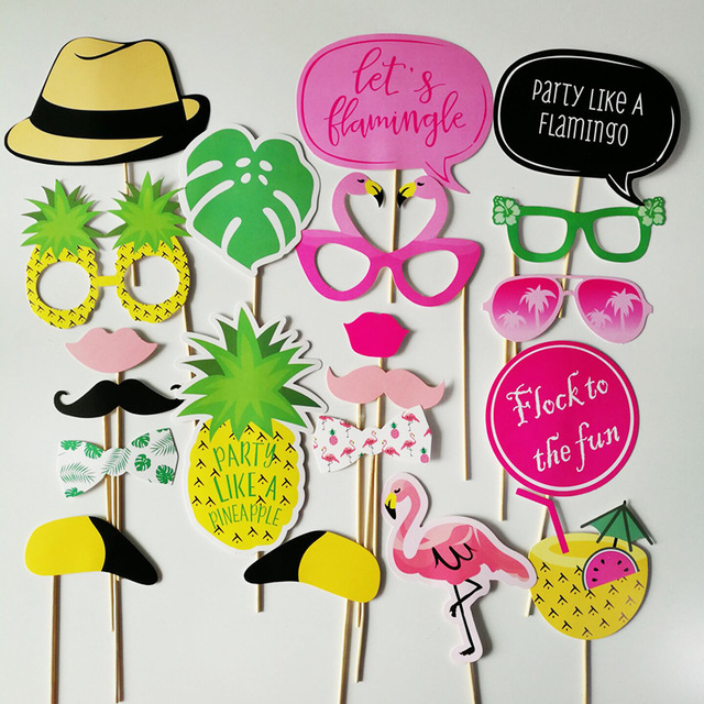 43ad63fe 20 pcs/set Flamingo Tropical Summer Hen Photo Booth Props Hawaii Carnival  Party Decoration Photobooth Wedding Birthday Supplies