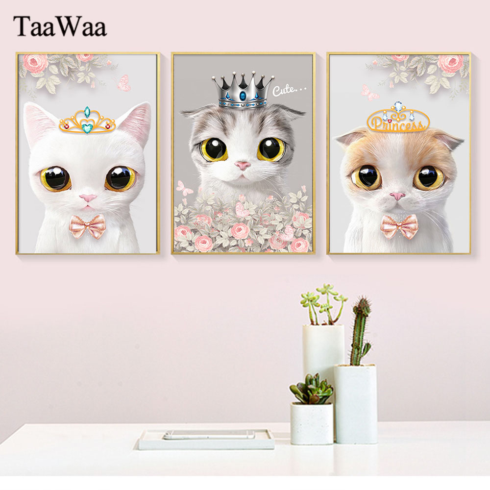 TaaWaa Watercolor Flower Cute Cat Canvas Painting Nursery Animal Wall Art Nordic Modern Poster Pictures For Kids Room Decor