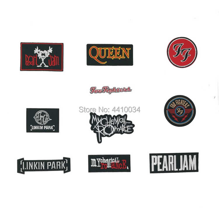Foo Fighters My Chemical Mutiara Selai Romance Queen Linkin Park Musik Tali Bordir Stiker Kaus Transfer Rock Punk Lencana
