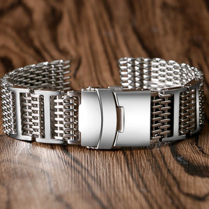 Image 3 - 20mm 22mm 24mm Luxury Shark Mesh Watch Band Strap Stainless Steel Replacement Folding Clasp with Safety Silver+ 2 Spring Bars