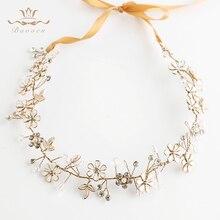 Bavoen Gold Wedding Headbands Korean Flower Brides Hairbands with ribbon Bridal Soft Crystal Tiara Pearls Hair Jewelry