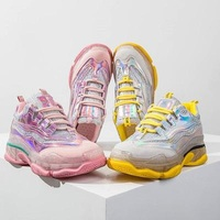 Laser old shoes female jelly colorful crystal bottom net shoes 2019 spring and summer thick bottom wild breathable sports