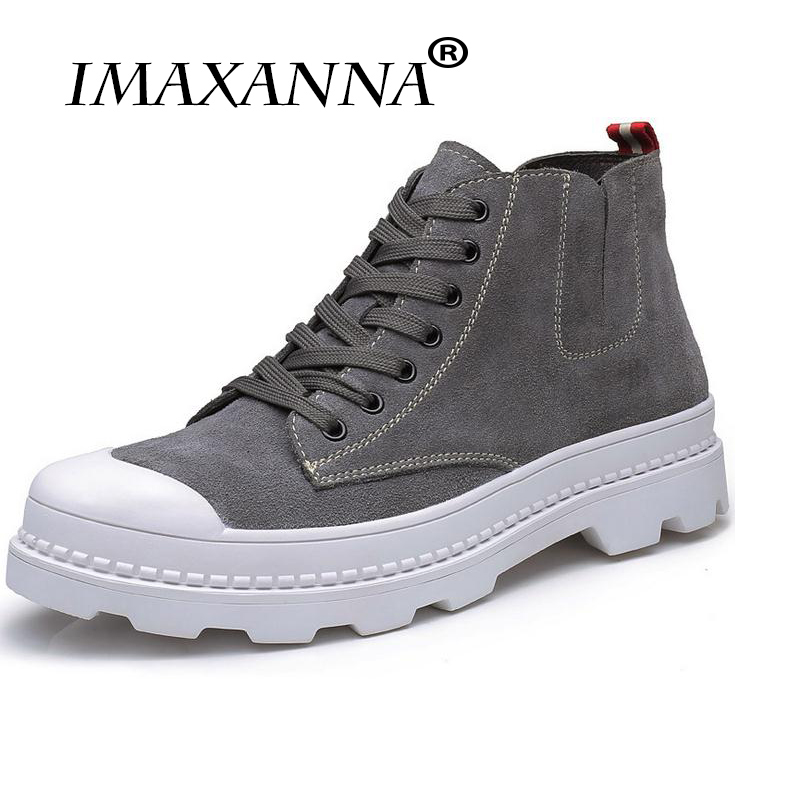 IMAXANNA Quality Autumn Mens Casual Shoes Men High Top Shoes Fashion Lace Up Leather Casual Shoes Black Brown Men Flat Boots стоимость