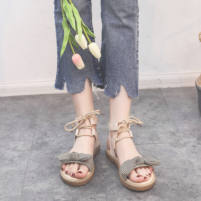 Sandals women's flat shoes bow 2019 summer new students cute fairy trend women's shoes 35