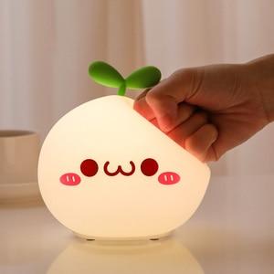Image 3 - Night Light Lamp USB LED Soft Silicon Touch Sensor Cartoon 5V 1200 mAh 8 Hours Working Kids Cute Night Light BP D PPD U