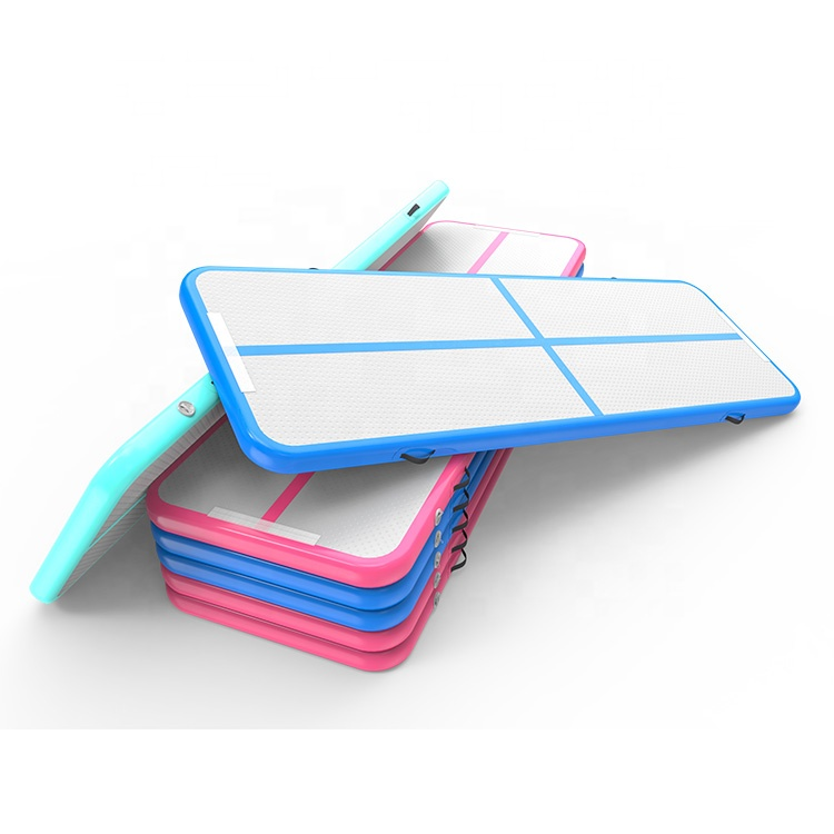 Factory Wholesale Inflatable Gym Mat 3M Training Mat For Taekwondo Blue And Pink Color Tumbling Track Mat With Cheap Price