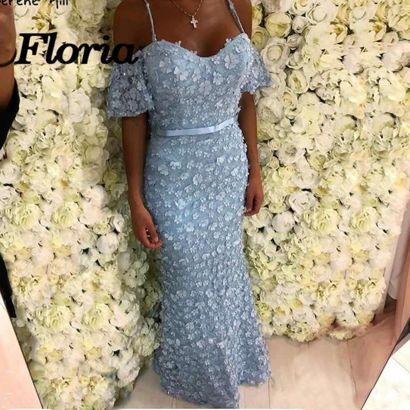 Africain 3D Fleur Sirène Robes De Soirée 2018 Robe de soirée Arabe Musulman Dubaï Sans Manches Formelle Prom Party Robe Pour Le Mariage