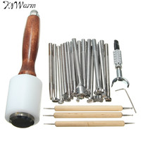 Kiwarm 25pcs Leather DIY Carved Wooden Hammer Stainless Steel Printing Tool Sewing Handmade Kit Set Leathercraft Tools Accessory