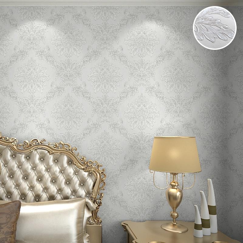 Home Fashion Lace Pattern Royal Cottage Floral Grande Damask 3d Embossed Wallpaper, White / Black / Cream