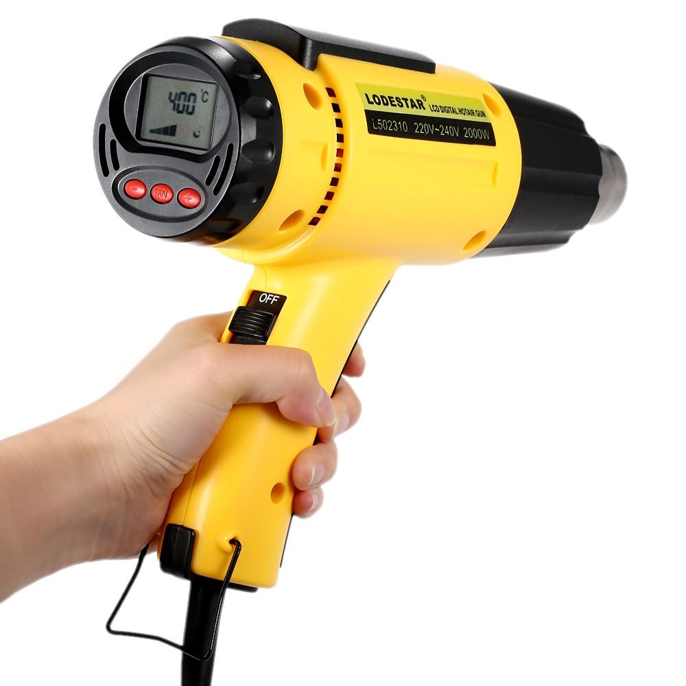 2000 W AC220 LODESTAR Elétrica Digital de Temperatura Pistola de Ar Quente-Ferramentas de Soldagem Calor controlado IC SMD Qualidade Ajustável + bocal