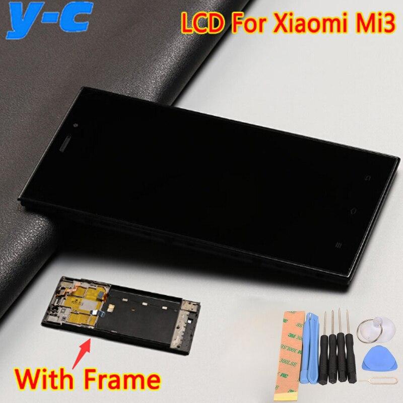imágenes para Alta Calidad Lcd + Pantalla Táctil Con El Marco Para El Reemplazo de Cristal Del Panel de Visualización Digital Para Xiaomi m3 xiaomi mi3 WCDMA teléfono