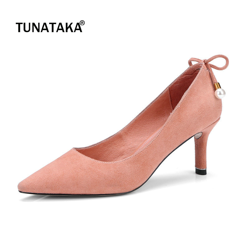 Suede Thin High Heel Pointed Toe Woamn Lazy Pumps Fashion Shallow Dress High Heel Shoes Woman Black Blue Khaki Pink