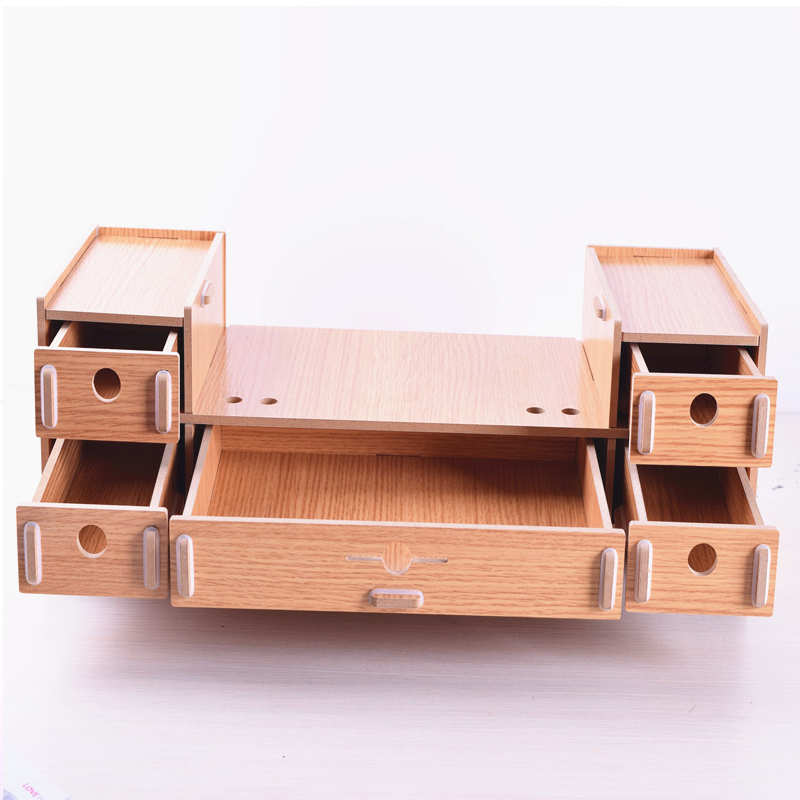 Adjule Wood Computer Monitor Riser Stand 5 Drawer Desktop Organizer With Pen Slots Keyboard Letter Tray File Holder In Mobile Phone Holders Stands