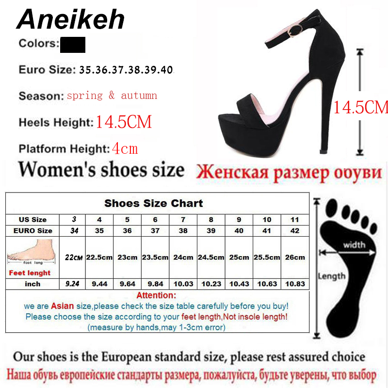 Aneikeh 2019 NEW 14 5CM Platform High Heels Sandals Summer Sexy Ankle Strap Open Toe Gladiator Aneikeh 2019 NEW 14.5CM Platform High Heels Sandals Summer Sexy Ankle Strap Open Toe Gladiator Party Dress Women Shoes Size 4-9