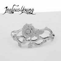 2017 Exquisite Rose Flower Bracelet Femme Inlay Shinning Zircon Bracelets For Women Gift Party Jewelry Accessories AB011