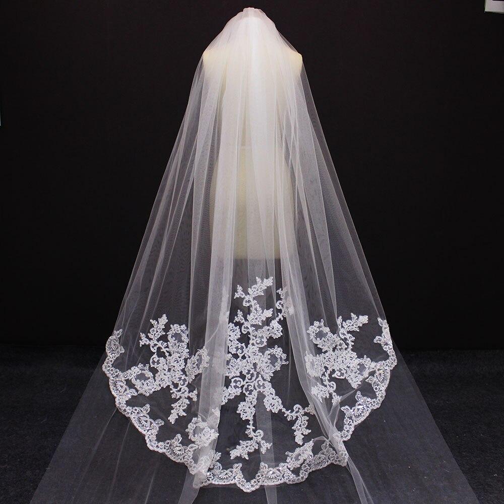 2019 Elegant 2.5 Meters 2 Layers Wedding Veil 2 T 2.5 M Beautiful Bridal Veil Voile Mariage-in Bridal Veils from Weddings & Events    2